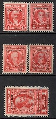 Us Revenues-Documentary, Mint/used, R364//373, 1943, (5) Diff, Sound/centered
