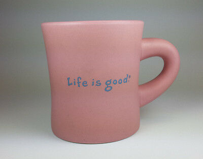 Life is Good SMILE Pink Coffee Tea Cup Mug Diner style Home Heavy Pottery