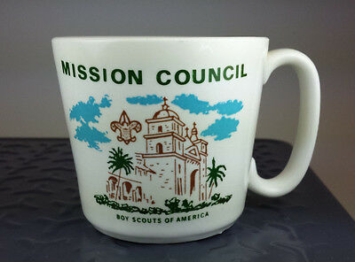 Vtg. Boy Scouts California Coffee Mug Mission Council Los Angeles 1960's