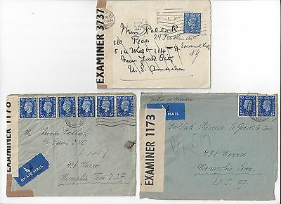 1940 1942 WWII 3 Great Britain Censored Covers, all with KGVI 2.5d Blue Stamps