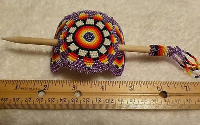 Hand Made Native American Beaded Hair Pick / Pony Tail Holder Multi-Color Large