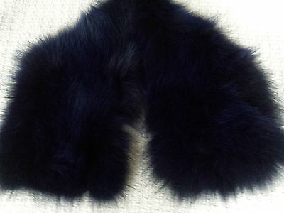 Fur Real Fox NAVY Collar Blue Black  by MO & Co DeParis New