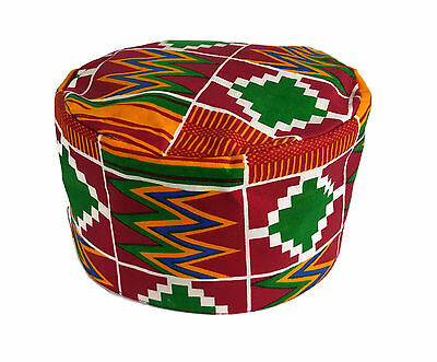 African Kufi Kente Print Hat Unisex Traditional Cap Black History Month Size54cm