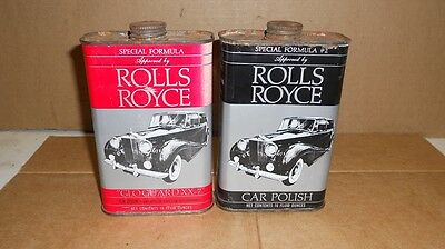 Vintage Lot Of 2 Rolls Royce Car Polish 16 Ounce Cans All Metal Nice Cans