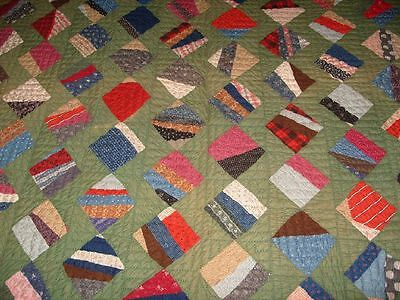 1880's String Block on Point Quilt-Beautiful Colors