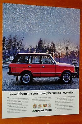 Seet 1989 Land Rover 4 X 4 In Red Ad - Retro 80S Vintage British Classic