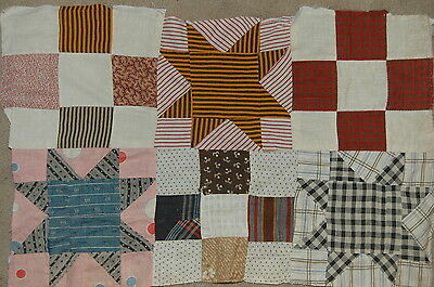 Early Madder Shirting Calico Antique Star Quilt Top Piece Repurpose