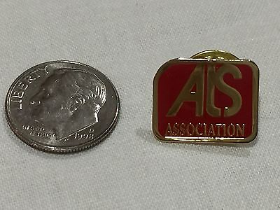 button lapel mini pin support ALS Association red enameled gold