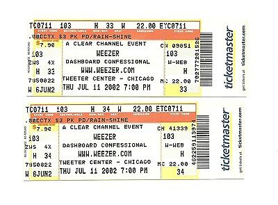 Weezer & Dashboard Confessional Unused Concert Tickets From July 11, 2002