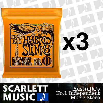 3x Ernie Ball Hybrid Slinky 9-46 Electric Guitar Strings *SET OF 3 PACKS*