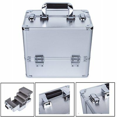Silver Professional Beauty Trolley Makeup Box Cosmetic Case Makeup Organizer