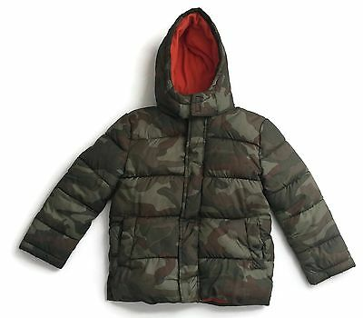 Faded Glory Boys Camouflage Green Hooded Puffer Jacket XS 4 5