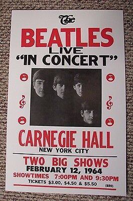 Vintage THE BEATLES Concert Poster LIVE NEW YORK CITY Carnegie Hall 2/12/1964