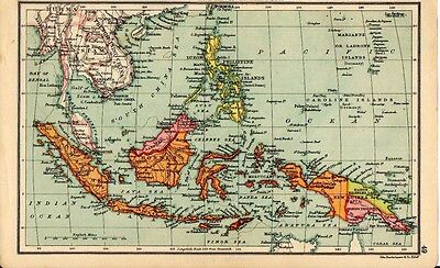 1880 ORIGINAL antique  MAP Farther India and Malaysia Walker's Ideal atlas