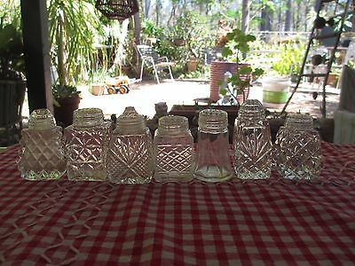 VINTAGE GLASS SALT & PEPPER SHAKERS LOT  of 7 MIXED ,great for CAFE