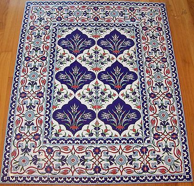 "Iznik Raised Floral Pattern Border 40""x32"" Turkish Ceramic Tile Mural Panel"