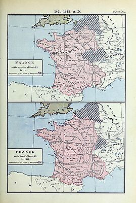 1905 map France at Accession Louis XI Labberton 40