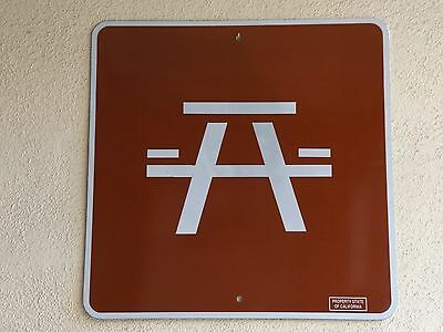 California rest area picnic table directional highway route road sign AUTHENTIC