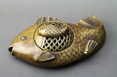 China pure brass copper carved three fish writing-brush washer pot Statue
