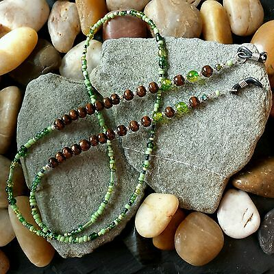 Glasses Chain - Brown Green Wood & Glass Beads - Spectacle Cord - Neck Strap
