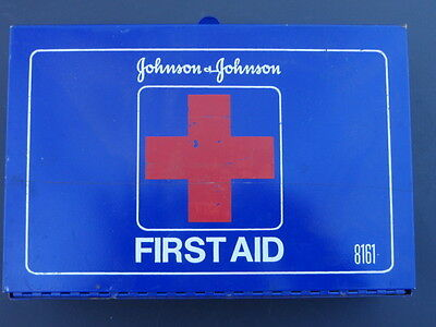 Collectible Blue Wall Mount First Aid Box Johnson & Johnson 8161 Metal