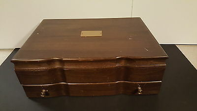 Wood Silverware Chest Box With Lift Top & Lower Drawer