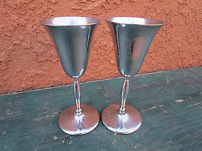 NS Co National Silver Co. Pair Of Wine Glasses Goblets Cups Chrome Stainless