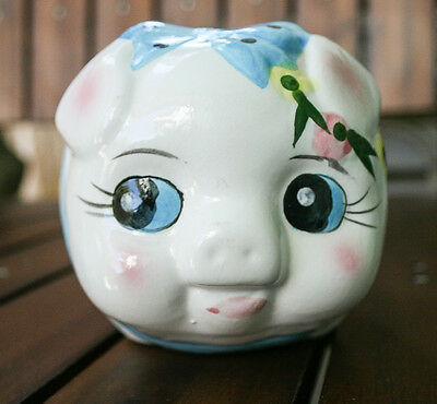 Vintage PIGGY BANK made in Japan white w FLOWERS & bow japanese writing on side