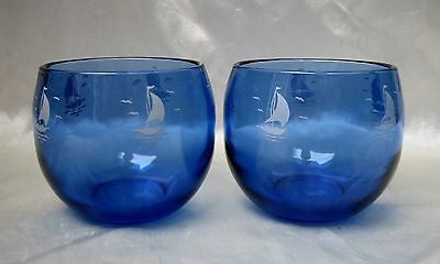 (2) Ships Sailboat Sportsman Series Cobalt Blue Roly Poly Tumblers Hazel Atlas