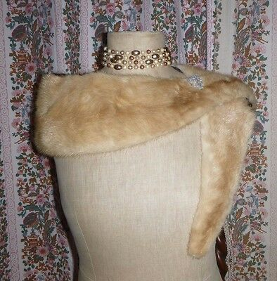 large vtg fur collar blonde mink wide deep shawl silk satin lined 50s glamour