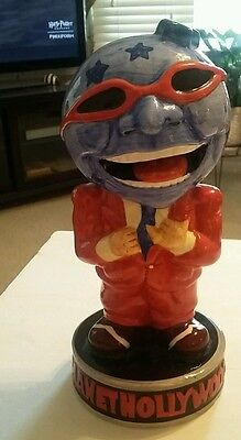 Planet Hollywood Ceramic Statue Retired Earth Shaped Head Red Suit Open Head