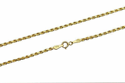 """Brand New 14k Yellow Gold 2mm Rope Chain Twist Link Necklace Size 16"""" - 30"""""""