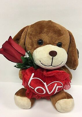 "8""  Brown DogPuppy Plush ""LOVE"" Heart 
