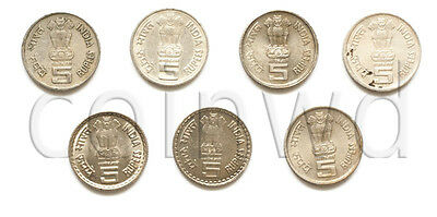 India 7 coins set 1994-2006 5 rupees copper-nickel VF-XF (# 1163)