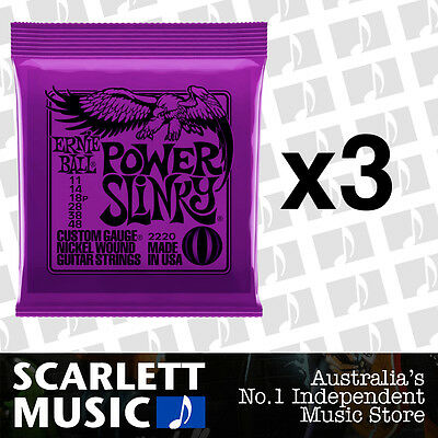 3x Ernie Ball Power Slinky 11-48 Electric Guitar Strings *SET OF 3 PACKS*