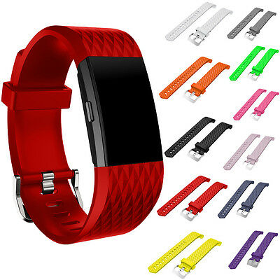 S/L NEW Newly Soft Sport Silicone Wrist Watch Bands Strap For Fitbit Charge 2