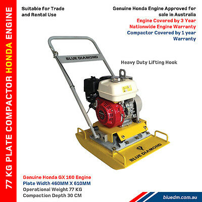 Plate Compactor / Wacker Rammer With Honda Engine - 100Kg - 5.5Hp *free Delivery