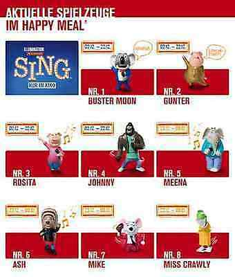 """Mc Donalds Spielzeug Happy Meal """"SING """" alle 8 St."""