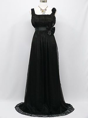 Cherlone Black Long Ball Formal Prom Wedding/Evening Gown Party Dress 12-14