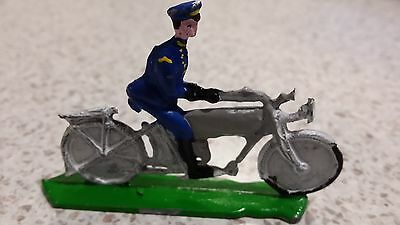 A 1920s ? LEAD MOTORCYCLE AND RIDER