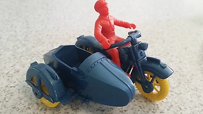 A Repro Dimestore Model Police Motorcycle And Sidecar Made By Delux Plastics