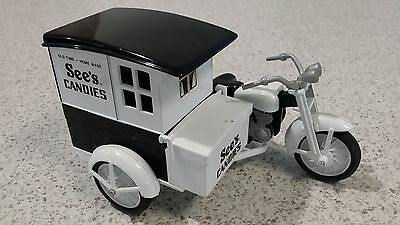 A SEEs CANDIES REPRO DIECAST MOTORCYCLE AND BOX SIDECAR