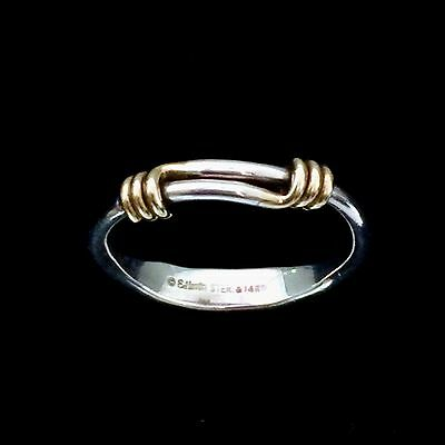 Ed Levin Sterling Silver & 14K Yellow Gold Signature Ring Size 6
