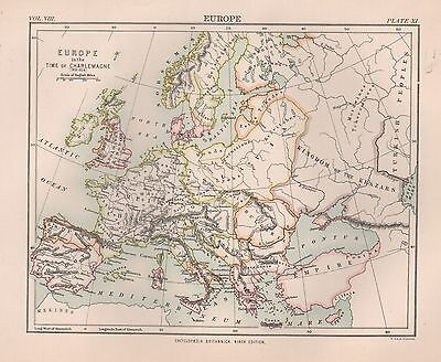 1898 Antique Map Europe In The Time Of Charlemagne