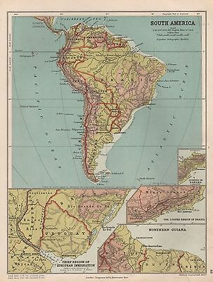 1889 Antique Map South America With 4 Insets