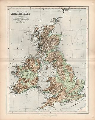 1875 Ca ANTIQUE MAP - PHYSICAL MAP OF THE BRITISH ISLES
