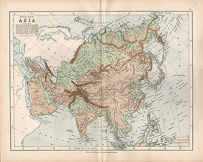 1875 Ca ANTIQUE MAP - PHYSICAL MAP OF ASIA
