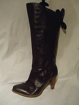 Womens French Connection Brown Leather Mid Calf Pull On Boots Uk 5 / Eu 38