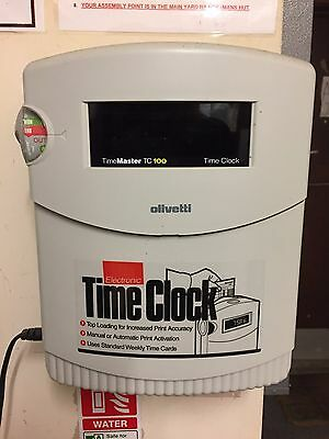 Olivetti Electronic Time Clock Clocking in Machine TC100 with cards and racks