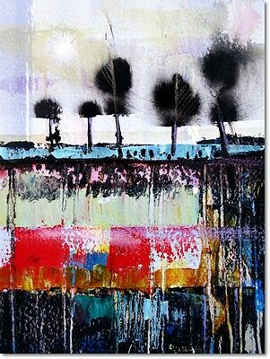 abstract landscape tree acrylic ink original painting mixed media UNFRAMED